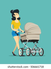 Woman with a pram. Vector illustration.