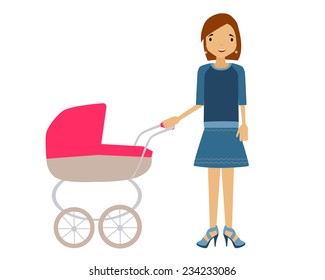 A woman with a pram. Young mum walks with the child. Vector illustration