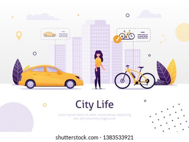 Woman Prefering Driving Bicycle to Car Banner Vector Illustration. Girl Choosing Healthy Lifestyle instead of Going by Vehicle. City Life with High Buildings. Transportation around Town.