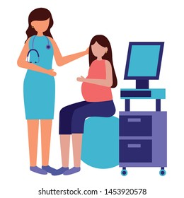 woman pregnancy sitiing yoga ball doctor scan machine maternity vector illustration