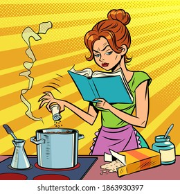 A woman prepares food with a cookbook in her hands. comics illustration drawing