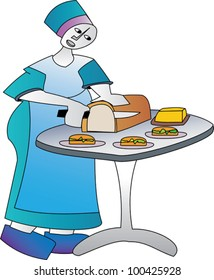 Woman preparing food in the catering or hospitality industry