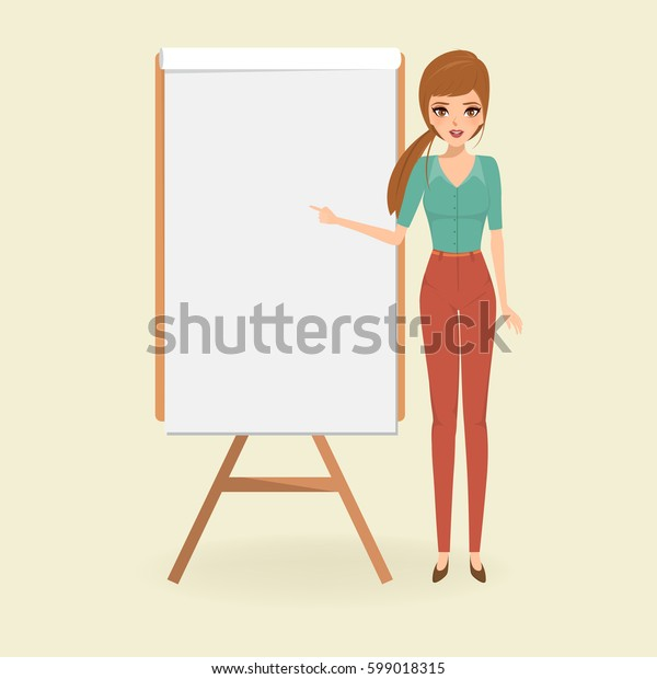 woman presentation with a white board. people character in job realistic vector design.