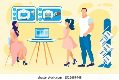 Woman Presenter in Trendy Showroom, Talking to Customers, Young Couple. She is Sitting by Desk with Laptop, Commenting Infomercial Graphics about Orthopedic Mattresses with Cotton or Coir Filling.