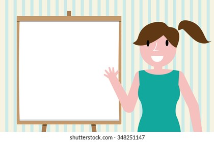 woman presenting, white billboard with empty space
