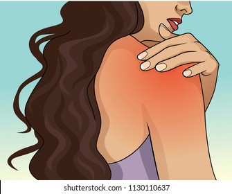 Woman pressing her hand on painful shoulder