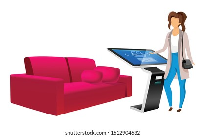 Woman and product promotion kiosk flat color vector faceless character. Catalogue presentation in furniture store isolated cartoon illustration on white background. Software with touchscreen interface
