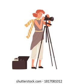 Woman professional photographer take photo use camera on tripod vector flat illustration. Female photographing having removable various lens in bag isolated. Creative person enjoying work or hobby