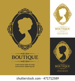 Woman profile in classic victorian style Vector Logo Template. Flourishes calligraphic elegant ornamental design logo, boutique brand. For invitation, greeting card