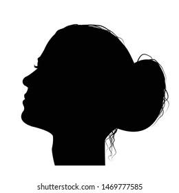 Woman profile with hair in a bun, black silhouette