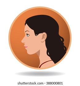 woman profile icon, face as seen from the side, avatar, vector illustration