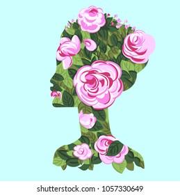 Woman profile with roses bush, silhouette, double exposure concept. On blue sky background. Face, portrait, concept - love, romance, spring, flowers, beauty, femail