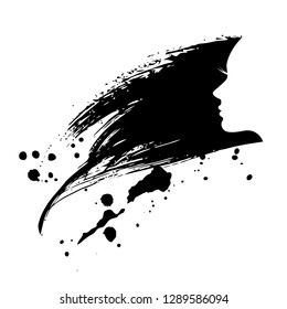Woman profile silhouette with paint splash hair. Vector salon, spa and fashion logo.