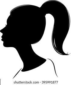 Woman Profile Silhouette - Vector Illustration