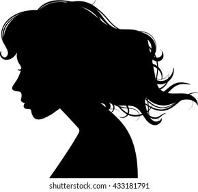 Woman - Profile - Silhouette - Vector - Illustration