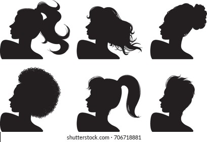 Woman profile silhouettes, looking over shoulder, vector illustration, clip-art icons