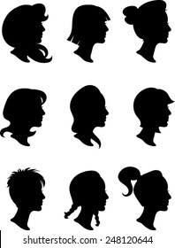 Woman Profile Silhouettes - Vector Image