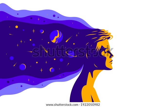 Woman profile with space view planets and stars from her head vector illustration, mindfulness philosophical and psychological theme, meditation and awareness.