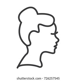 woman profile vector line icon, sign, illustration on background, editable strokes