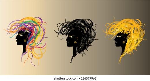 woman profiles of various hair styles