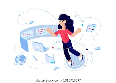 Woman programmer at work process vector illustration. Girl in glasses with laptop flat style concept. Specialist coding new project using computer. Software coding testing debugging