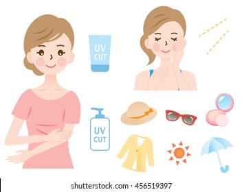 woman protect her face and body from ultraviolet rays with a hat, foundation, sunscreen,sunglasses, sun protective clothing, and a parasol/UV protection