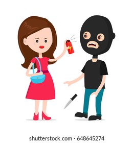 Woman protected herself from robber. Self defense spray concept.   Human attack technology, safety equipment, personal security,tear-gas