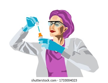 Woman in protective gloves and glasses wearing medical gown doing research in laboratory.Comic pop art cartoon style vector srock illustration.Scientist holds in hands a dropper.