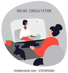 Woman at the psychologist online session. Doctor consultation by phone. Video call to psychiatrist. Online psychological therapy. Hand drawn doodle vector graphic