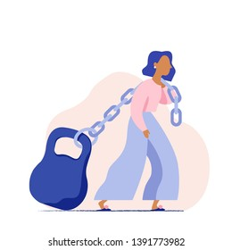 Woman pulling a heavy weight on a chain. Concept of a woman's heavy social load. Woman carrying huge weight. Business woman struggling with mortgage. Flat vector illustration.