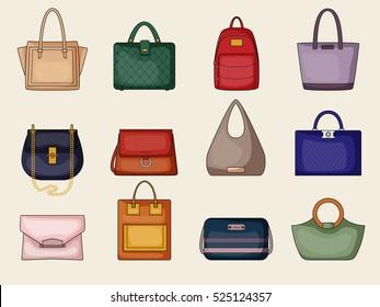 Woman purses illustrations