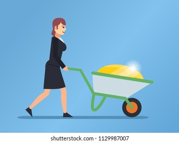 Woman pushes wheelbarrow full of gold. Become rich, find treasures, goldmine concept. Flat design vector illustration