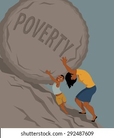 Woman pushing a rock with the word poverty written on it uphill, a little boy helping her, vector illustration, no transparencies, EPS 8