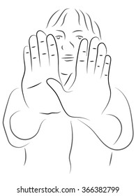woman put hands forward, woman stretches out his hands, palms forward, warning gesture. Vector illustration on the theme of gestures.