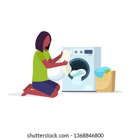 woman putting dirty clothes into washing machine african american housewife doing housework laundry room cartoon character full length flat white background