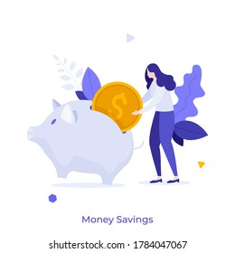 Woman putting dollar coin into piggy bank. Concept of money savings, personal investment, finance, funding, bank deposit, capital accumulation. Modern colorful flat vector illustration for banner.