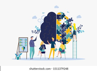 A woman puzzles a human brain. Psychology and psychotherapy session, mental healing and well-being, psychotherapist counseling mental illness and difficulties.