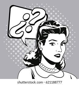 woman question comic pop art