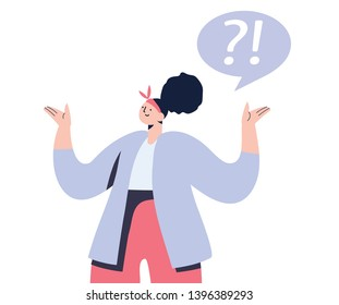 Woman with question sign flat vector