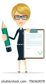 woman with a questionary and big green pencil. Stock vector illustration for poster, greeting card, website, ad, business presentation advertisement design