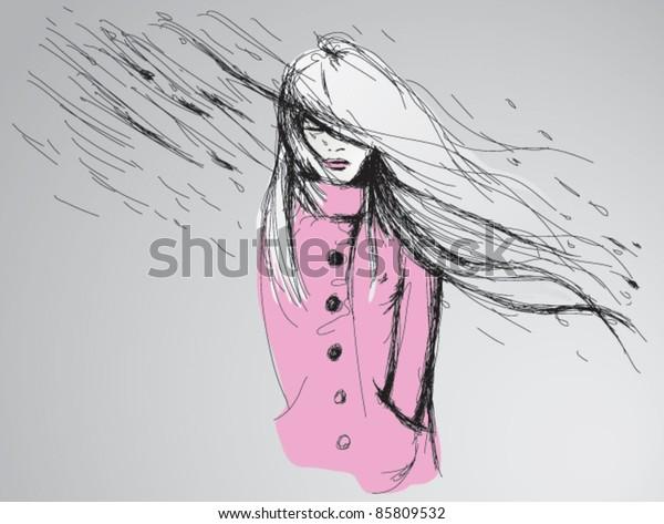 Woman in rain / Fashion Sketch