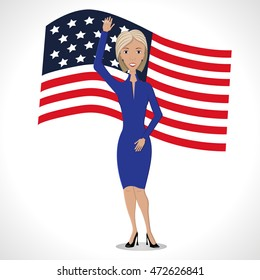 Woman with raised hand on american flag background. Vector illustration.