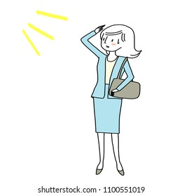 Woman raising her hand to protect sunlight during summertime. Businesswoman with sweat on her face feeling exhausted from hot and humid day in summer season. Vector illustration with hand-drawn style.
