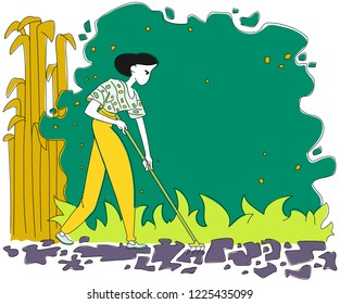 Woman with rakes working in the garden. Spring or summer gardening. Hand drawn vector illustration.