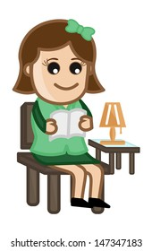 Woman Reading a Book - Cartoon Office Vector Illustration