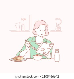 A woman reading a book and having breakfast. hand drawn style vector doodle design illustrations.