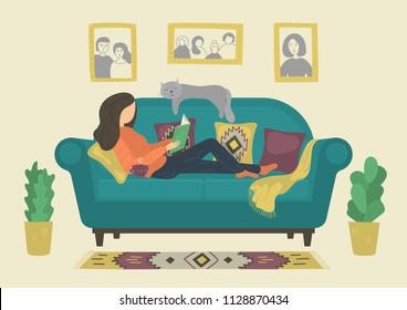 Woman reading book on sofa at home. Original vector illustration.