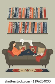 Woman reading book on sofa at warm sweet home. Original vector illustration.