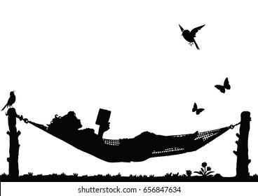 Woman Reading a book relaxing in a Hammock isolated on white background