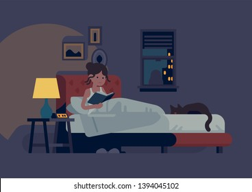 Woman reading in her bed before she go to sleep with bedside lamp turned on and sleeping cat next to her. Flat design vector illustration on reading before bed